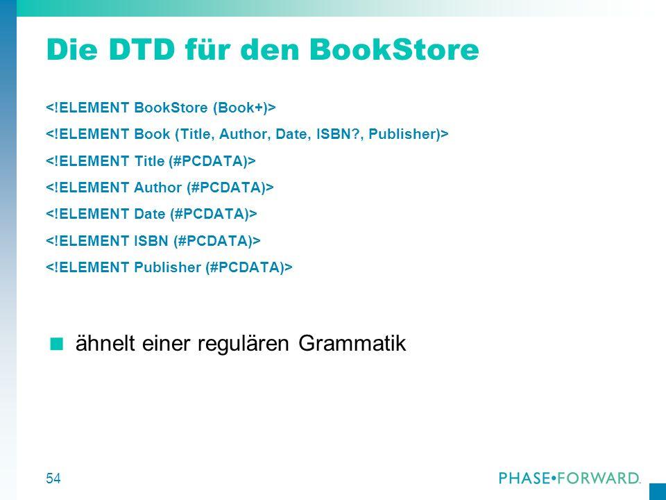 Die DTD für den BookStore