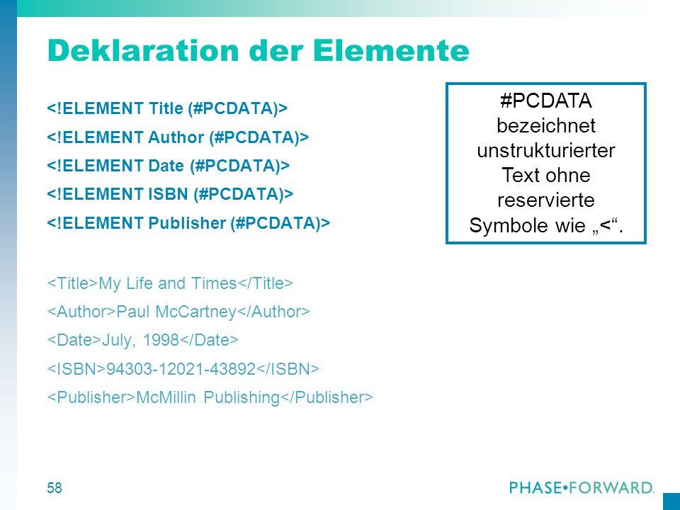 Deklaration der Elemente