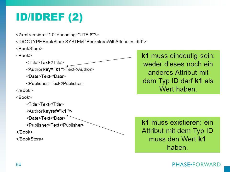 ID/IDREF (2) k1 muss eindeutig sein: weder dieses noch ein