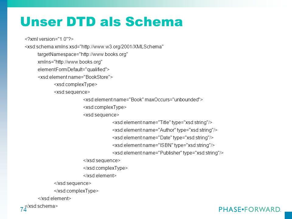 Unser DTD als Schema < xml version= 1.0 >