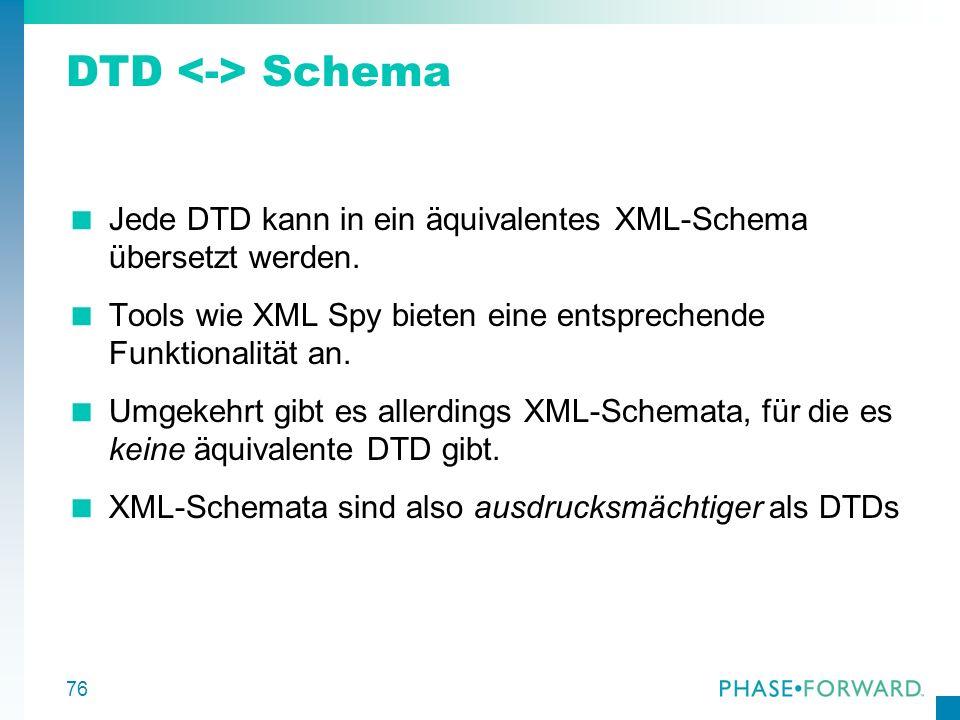 DTD <-> Schema Jede DTD kann in ein äquivalentes XML-Schema übersetzt werden. Tools wie XML Spy bieten eine entsprechende Funktionalität an.