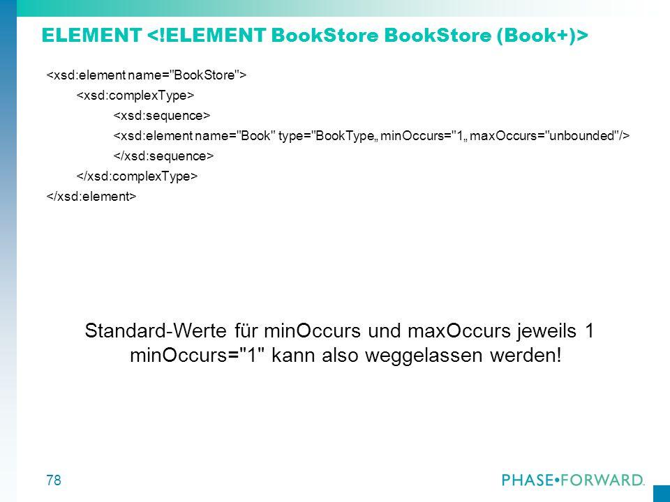 ELEMENT <!ELEMENT BookStore BookStore (Book+)>