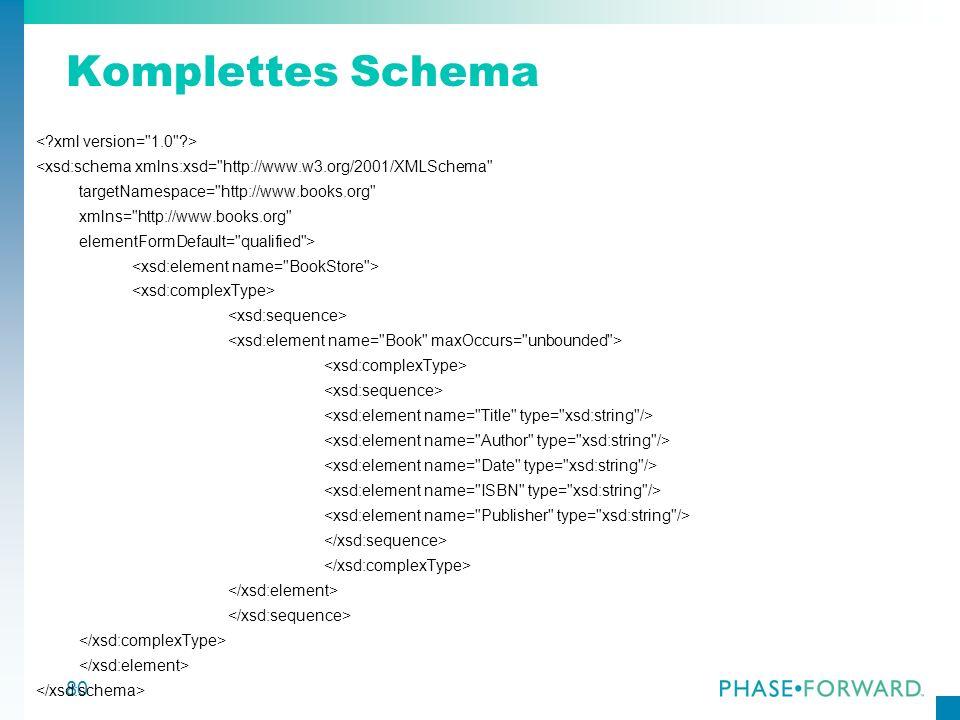 Komplettes Schema < xml version= 1.0 >