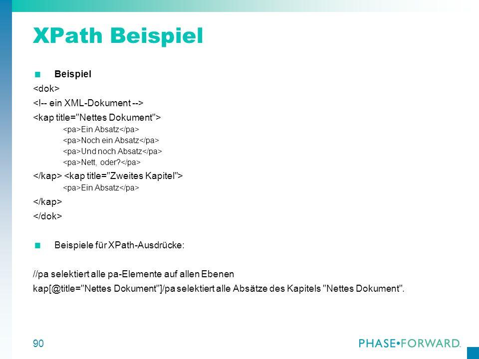 XPath Beispiel Beispiel <dok> <!-- ein XML-Dokument -->