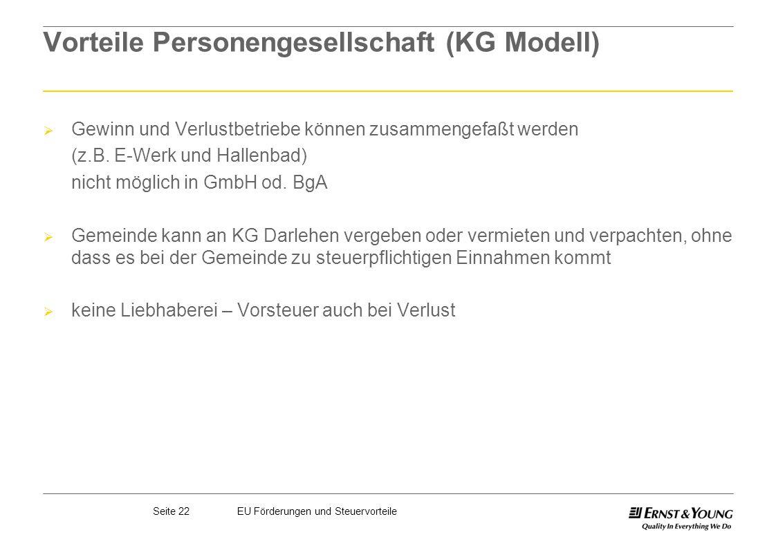 Vorteile Personengesellschaft (KG Modell)
