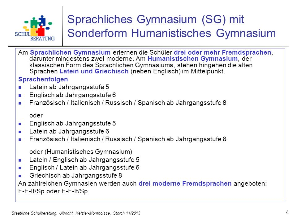 Sprachliches Gymnasium (SG) mit Sonderform Humanistisches Gymnasium