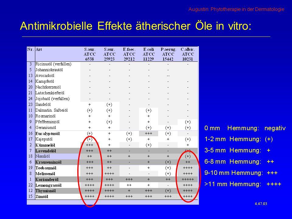 Antimikrobielle Effekte ätherischer Öle in vitro: