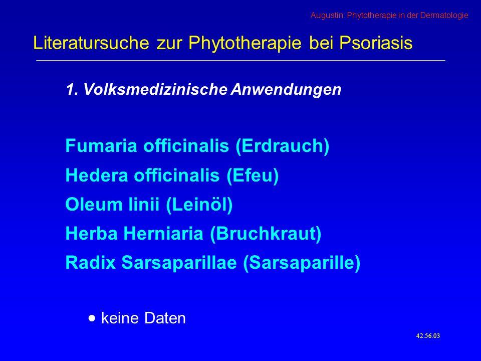 Literatursuche zur Phytotherapie bei Psoriasis