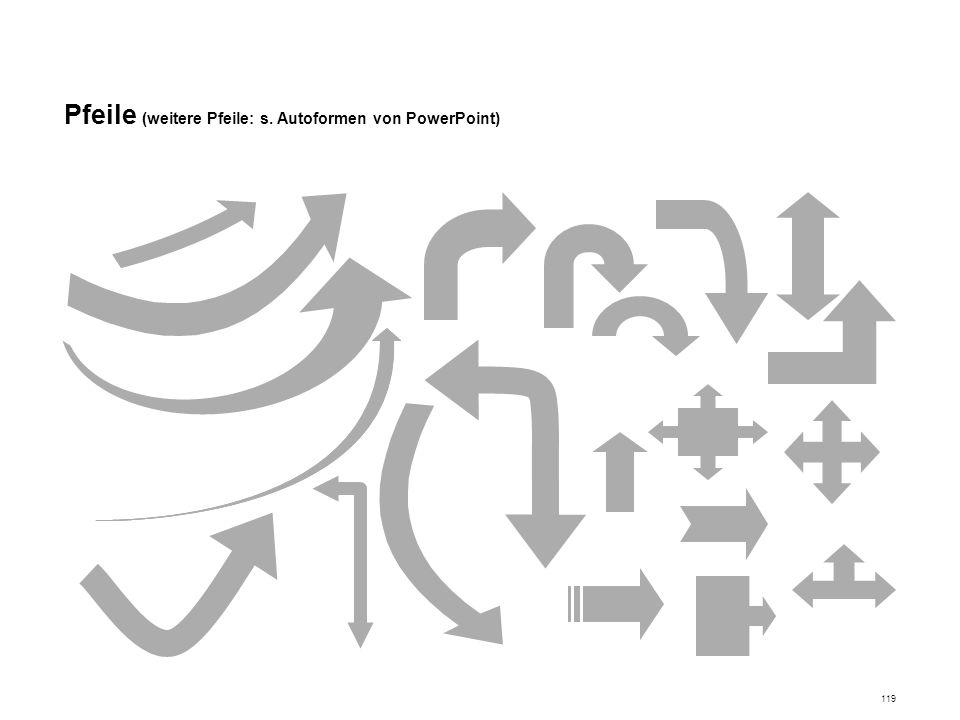 Pfeile (weitere Pfeile: s. Autoformen von PowerPoint)
