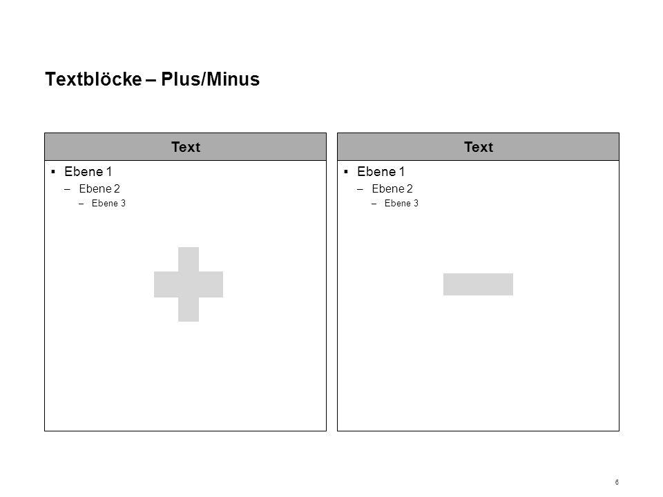 Textblöcke – Plus/Minus