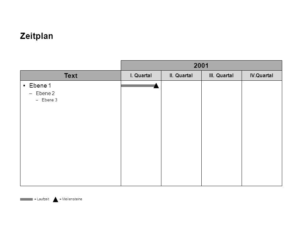 Zeitplan 2001 Text Ebene 1 I. Quartal II. Quartal III. Quartal