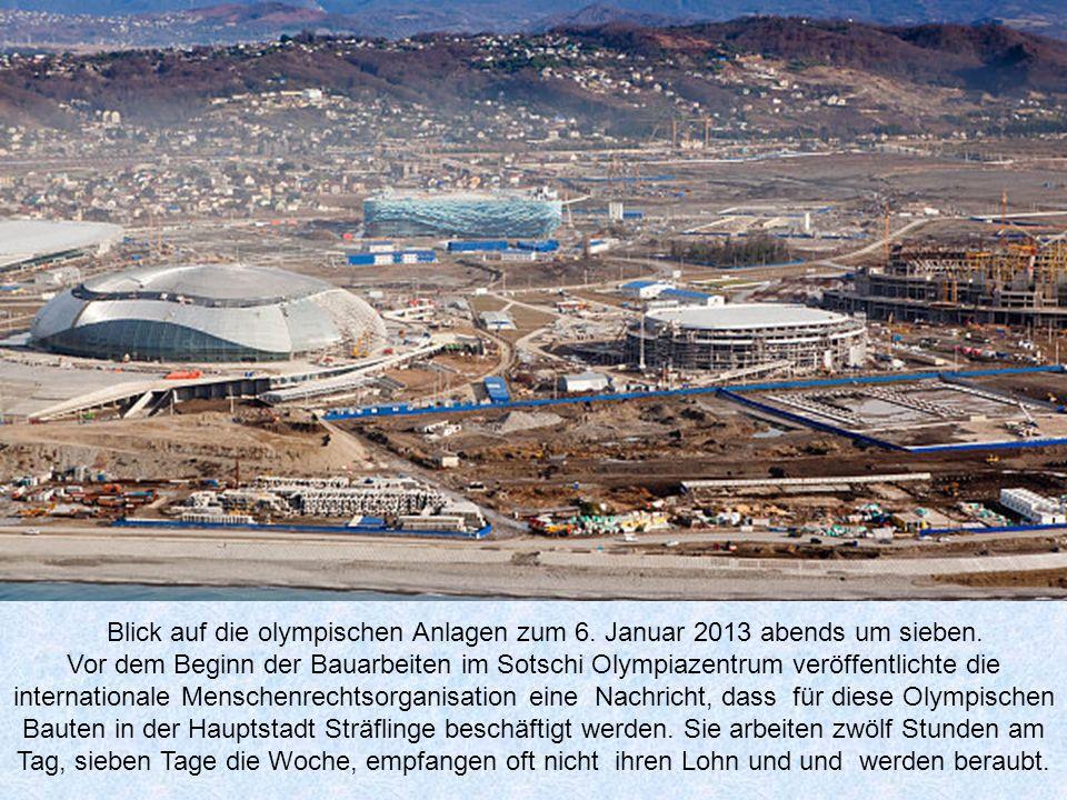 Blick auf die olympischen Anlagen zum 6. Januar 2013 abends um sieben