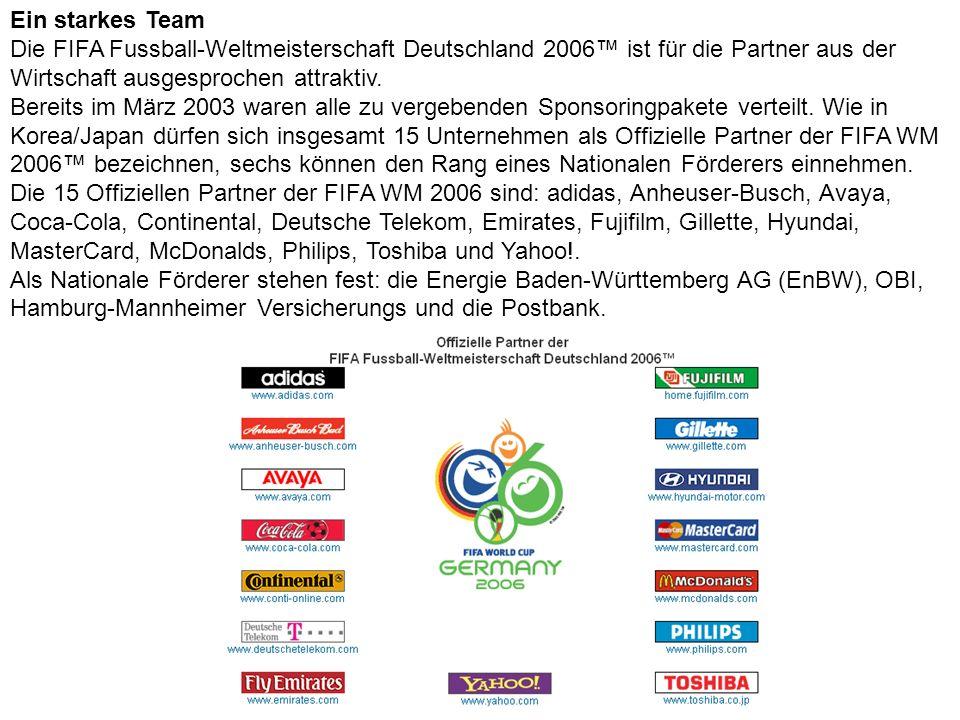 Ein starkes Team Die FIFA Fussball-Weltmeisterschaft Deutschland 2006™ ist für die Partner aus der Wirtschaft ausgesprochen attraktiv.