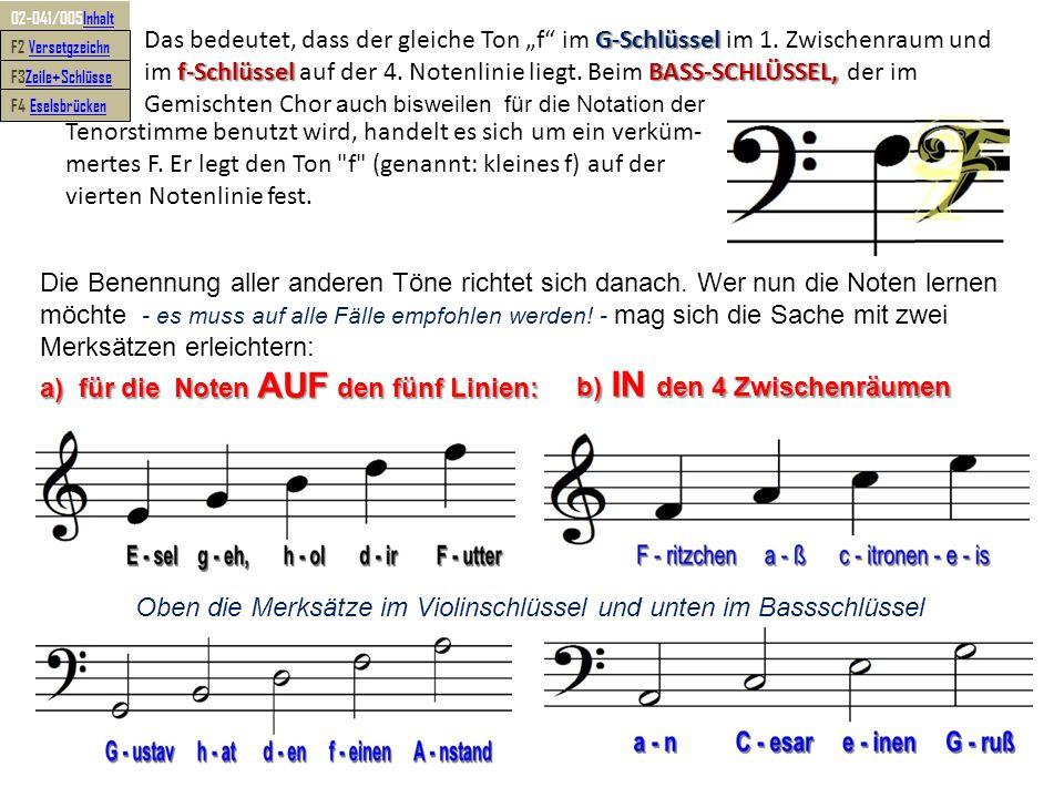 Oben die Merksätze im Violinschlüssel und unten im Bassschlüssel