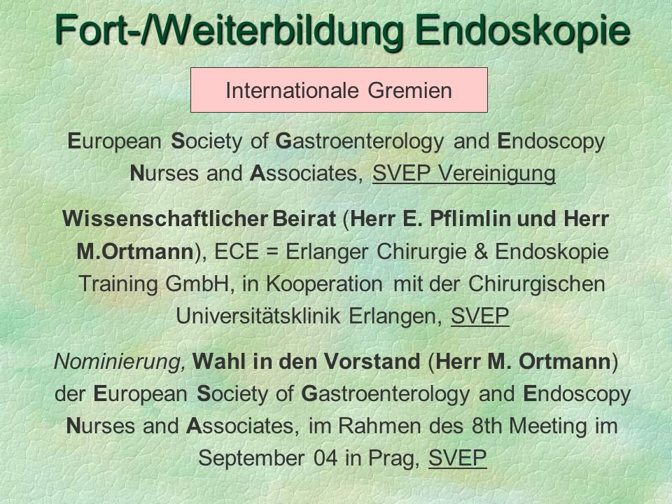 Fort-/Weiterbildung Endoskopie
