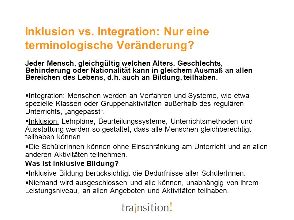Inklusion vs. Integration: Nur eine terminologische Veränderung