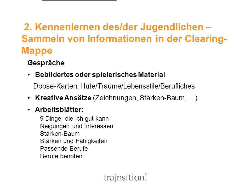 2. Kennenlernen des/der Jugendlichen – Sammeln von Informationen in der Clearing-Mappe