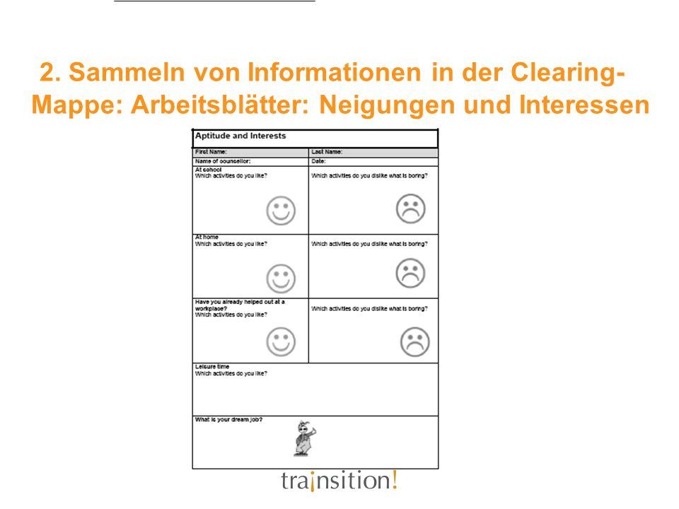 2. Sammeln von Informationen in der Clearing-Mappe: Arbeitsblätter: Neigungen und Interessen