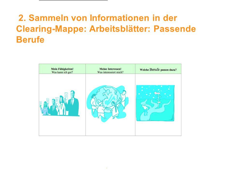 2. Sammeln von Informationen in der Clearing-Mappe: Arbeitsblätter: Passende Berufe