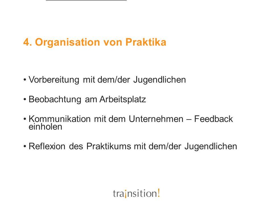 4. Organisation von Praktika