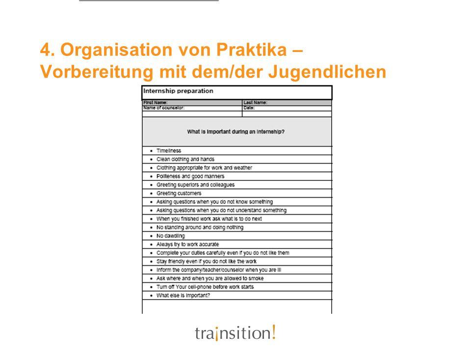 4. Organisation von Praktika – Vorbereitung mit dem/der Jugendlichen