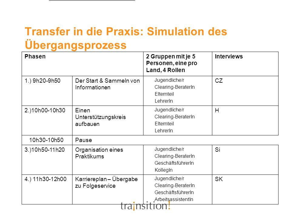 Transfer in die Praxis: Simulation des Übergangsprozess