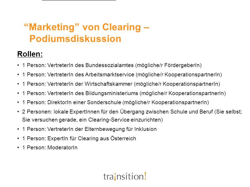 Marketing von Clearing – Podiumsdiskussion