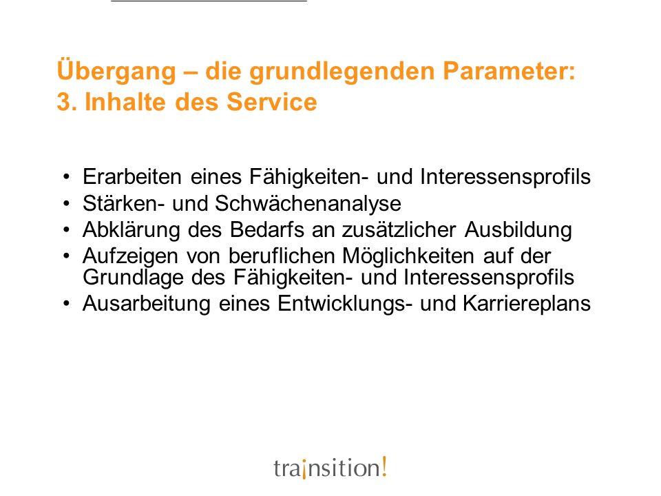 Übergang – die grundlegenden Parameter: 3. Inhalte des Service