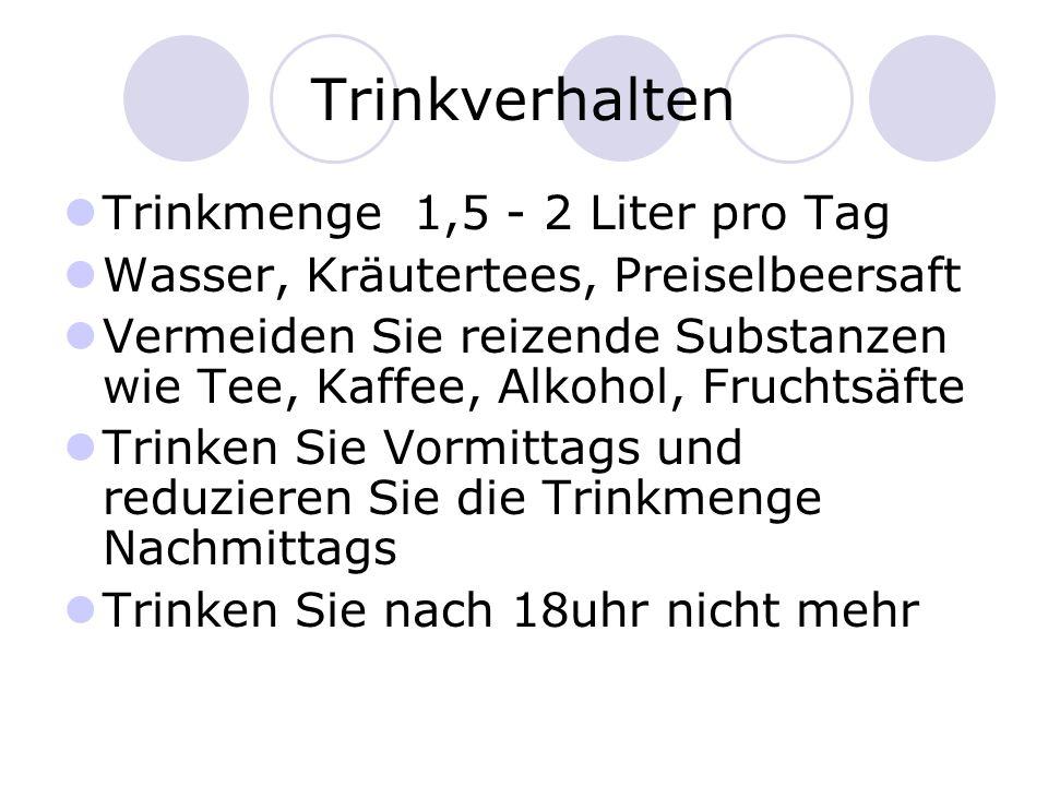 Trinkverhalten Trinkmenge 1,5 - 2 Liter pro Tag