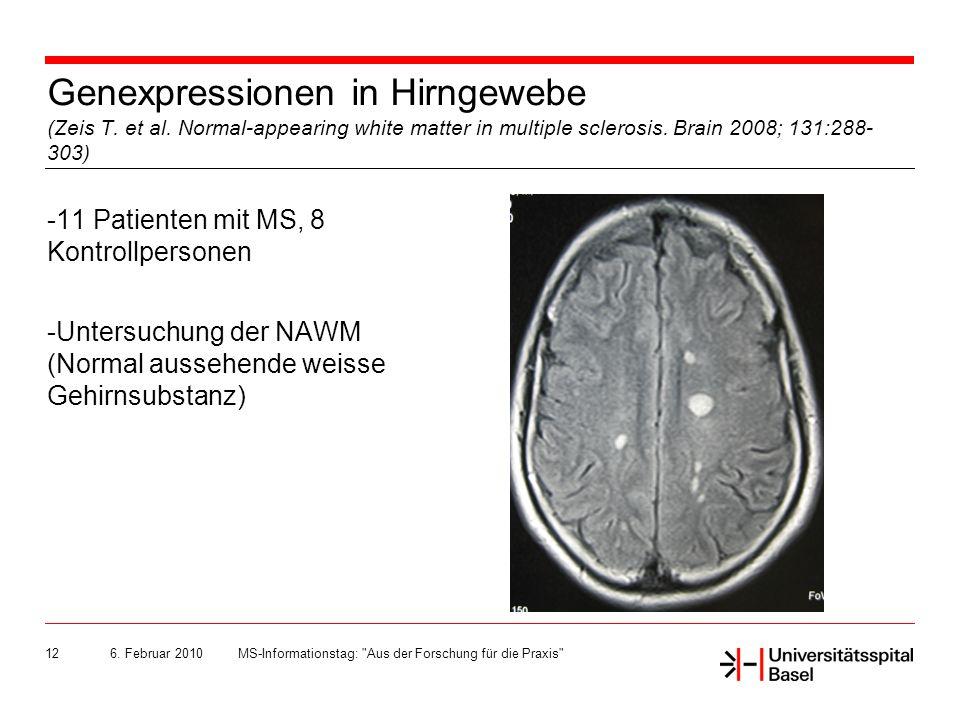 Genexpressionen in Hirngewebe (Zeis T. et al