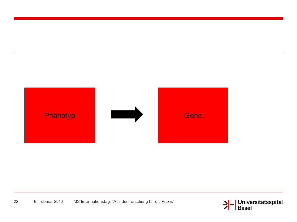 Phänotyp Gene 6. Februar 2010 MS-Informationstag: Aus der Forschung für die Praxis