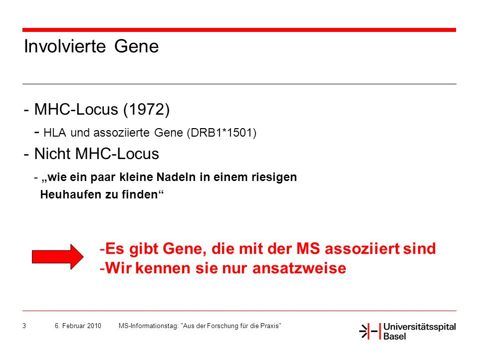 Involvierte Gene MHC-Locus (1972)