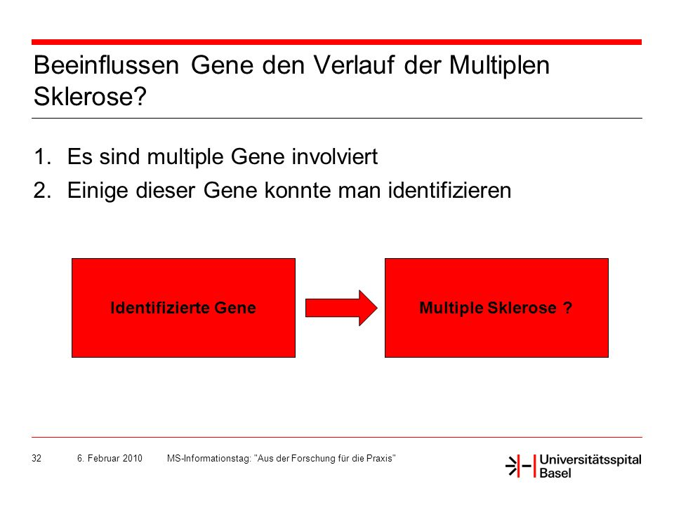 Beeinflussen Gene den Verlauf der Multiplen Sklerose