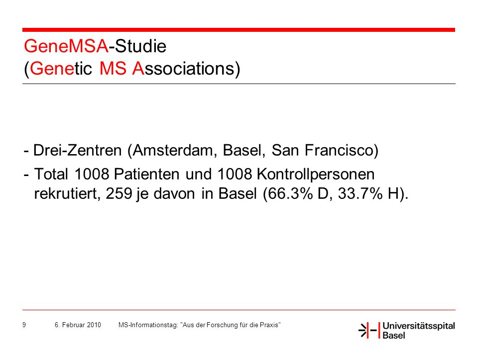 GeneMSA-Studie (Genetic MS Associations)