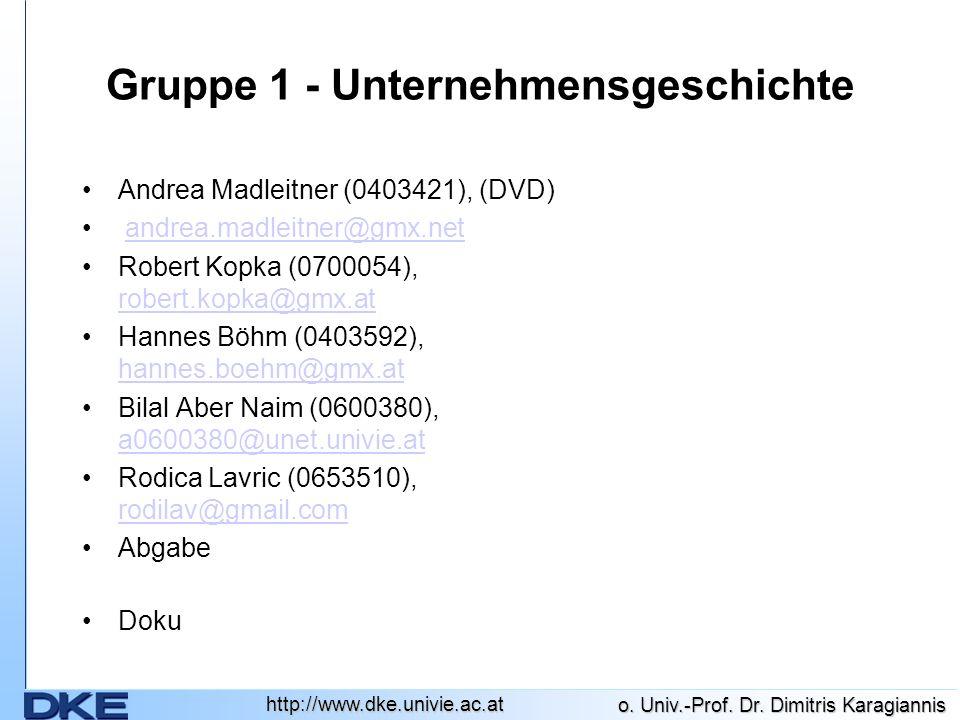 Gruppe 1 - Unternehmensgeschichte