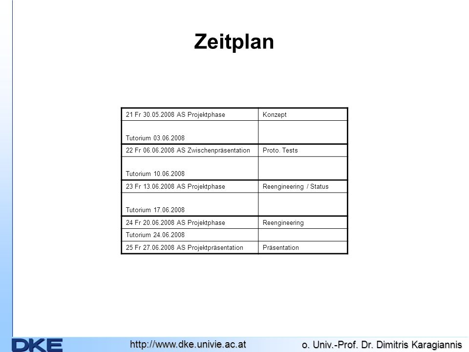 Zeitplan 21 Fr 30.05.2008 AS Projektphase Konzept Tutorium 03.06.2008