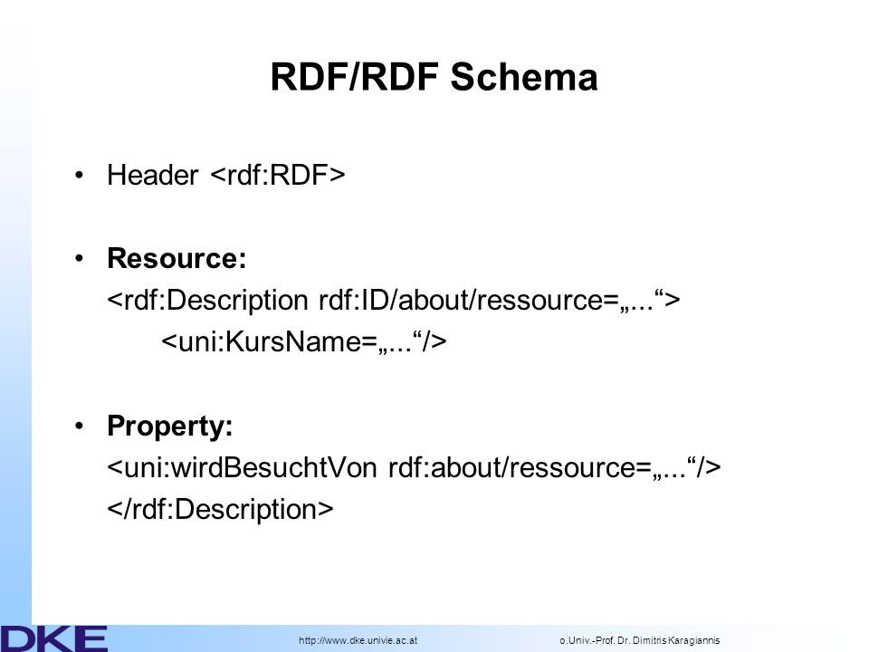 RDF/RDF Schema Header <rdf:RDF> Resource: