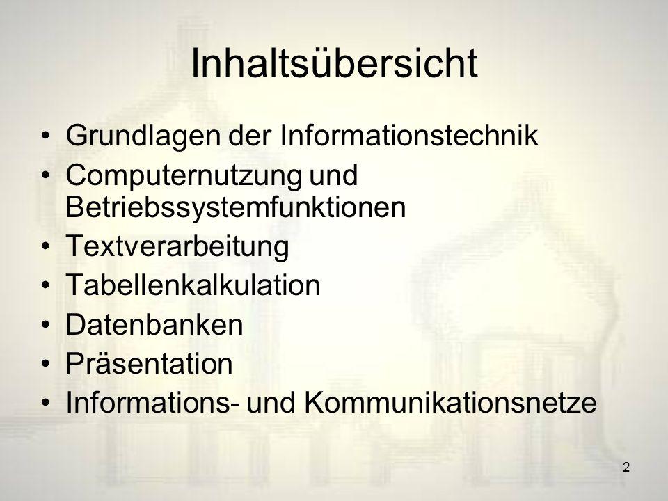 Inhaltsübersicht Grundlagen der Informationstechnik