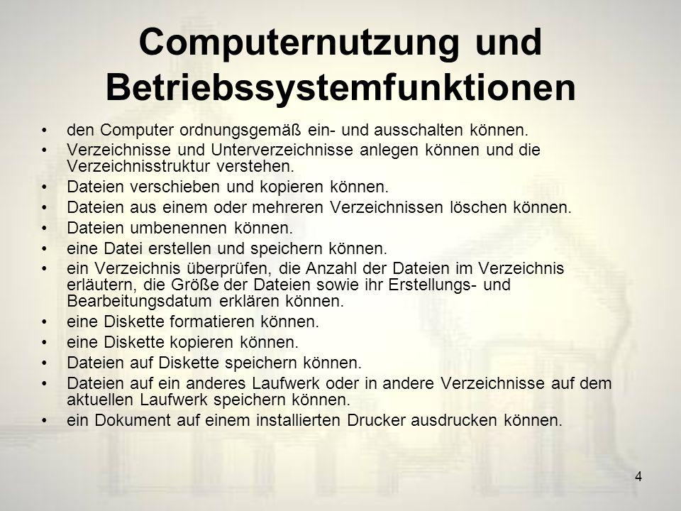 Computernutzung und Betriebssystemfunktionen