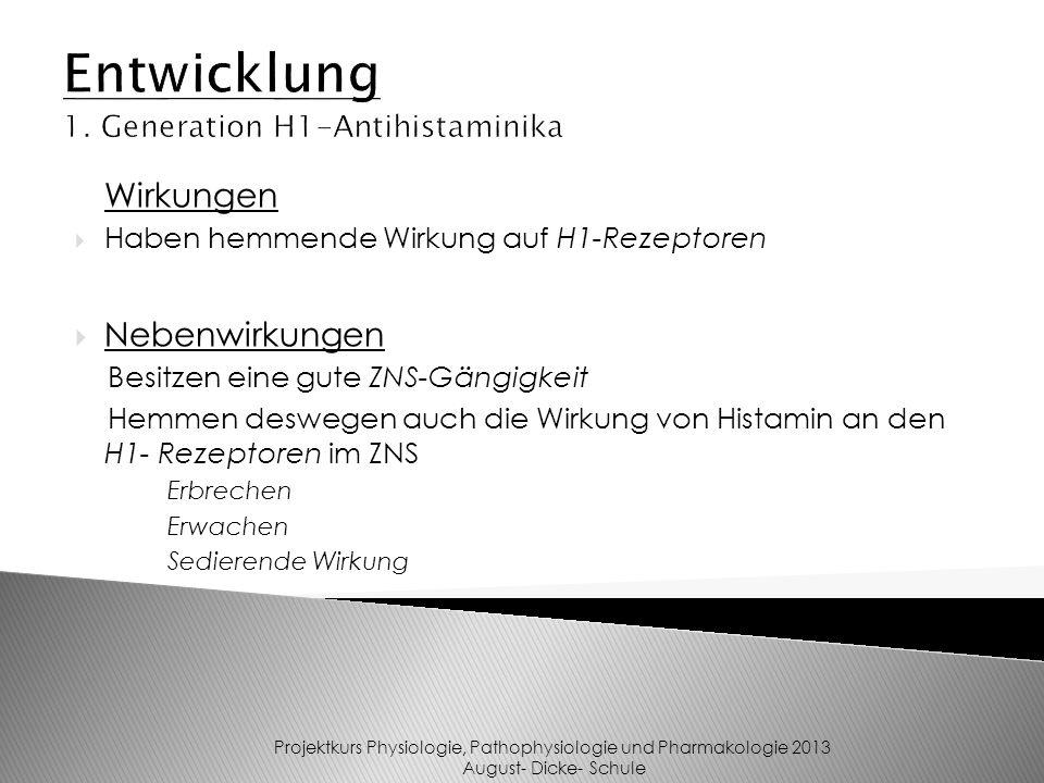Entwicklung 1. Generation H1-Antihistaminika