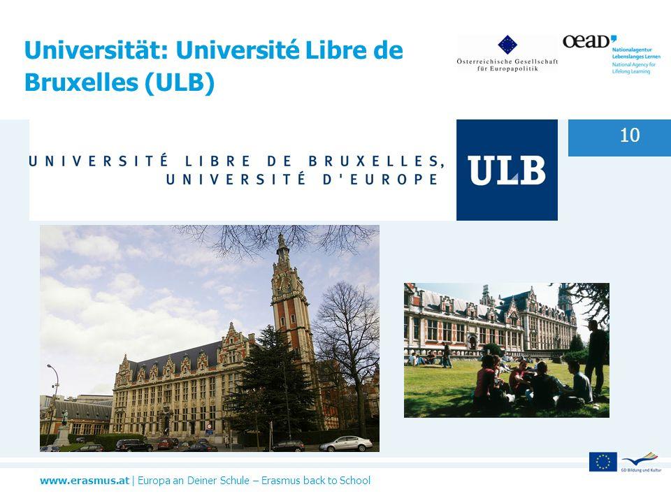 Universität: Université Libre de Bruxelles (ULB)