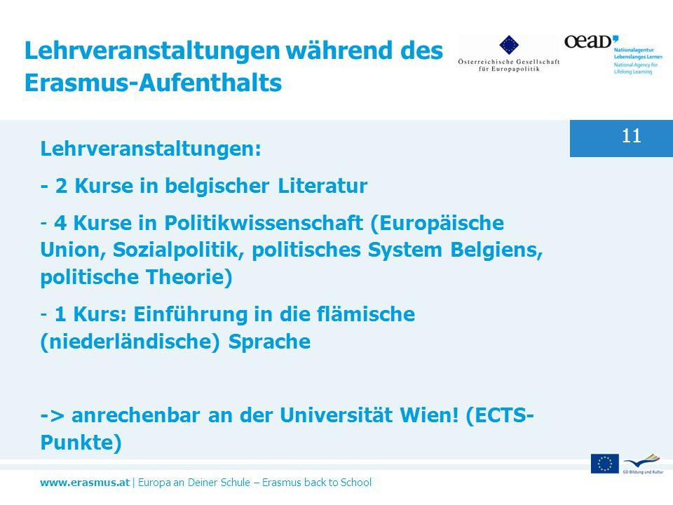 Lehrveranstaltungen während des Erasmus-Aufenthalts