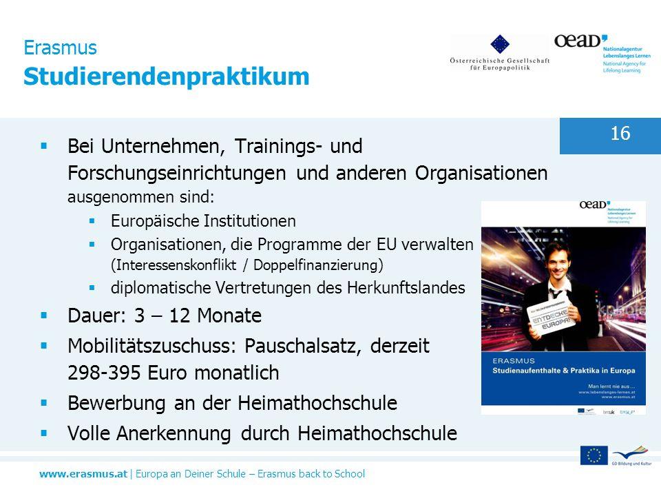 Erasmus Studierendenpraktikum