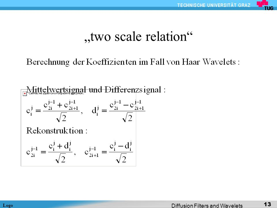 """two scale relation Diffusion Filters and Wavelets"