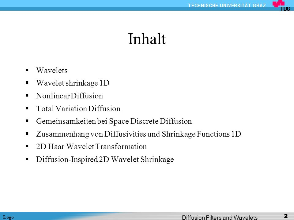 Inhalt Wavelets Wavelet shrinkage 1D Nonlinear Diffusion
