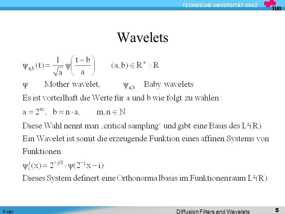 Wavelets Diffusion Filters and Wavelets