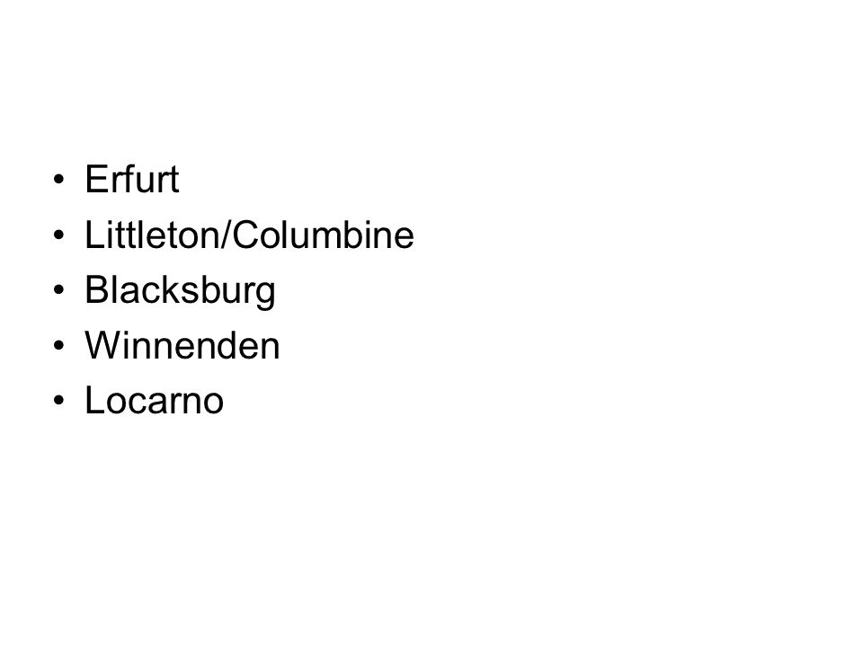 Erfurt Littleton/Columbine Blacksburg Winnenden Locarno
