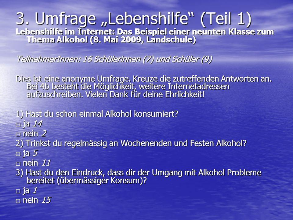 "3. Umfrage ""Lebenshilfe (Teil 1)"