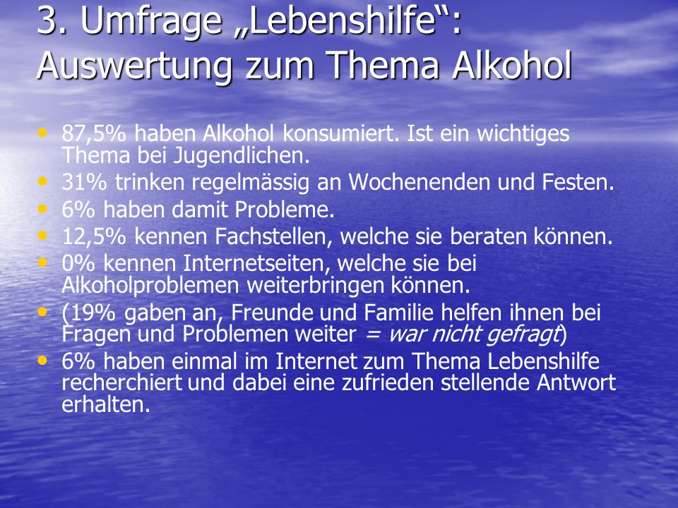 "3. Umfrage ""Lebenshilfe : Auswertung zum Thema Alkohol"
