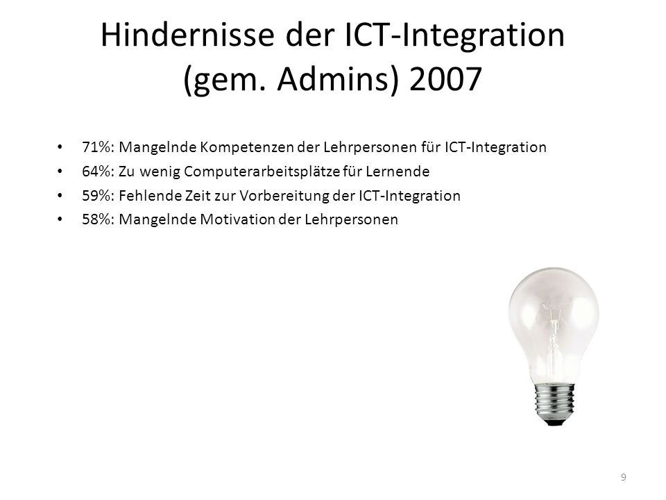 Hindernisse der ICT-Integration (gem. Admins) 2007
